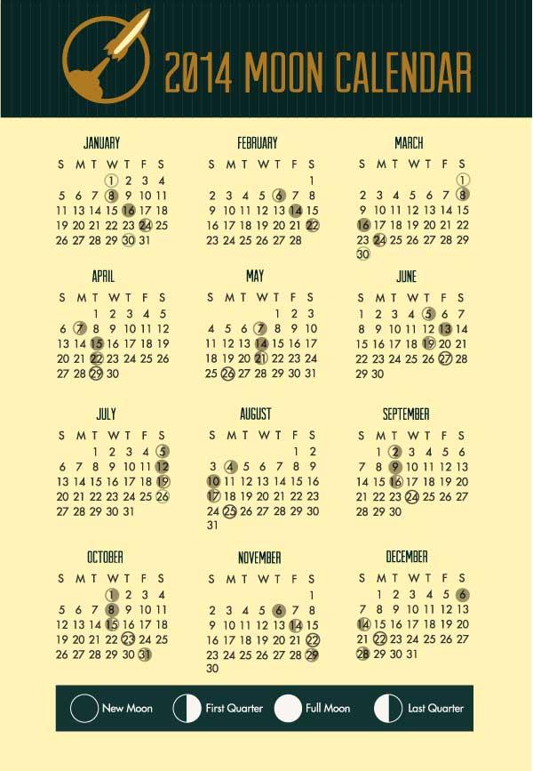 Moon Calendar 2014 por Freepik