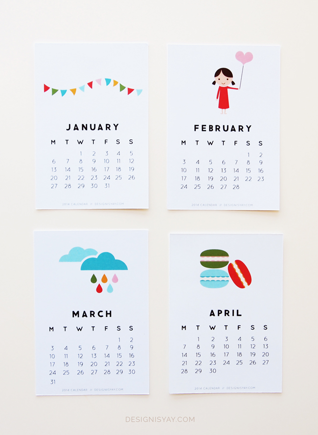 Plantillas para calendarios 2014, Year of Colour por DesignIsYay