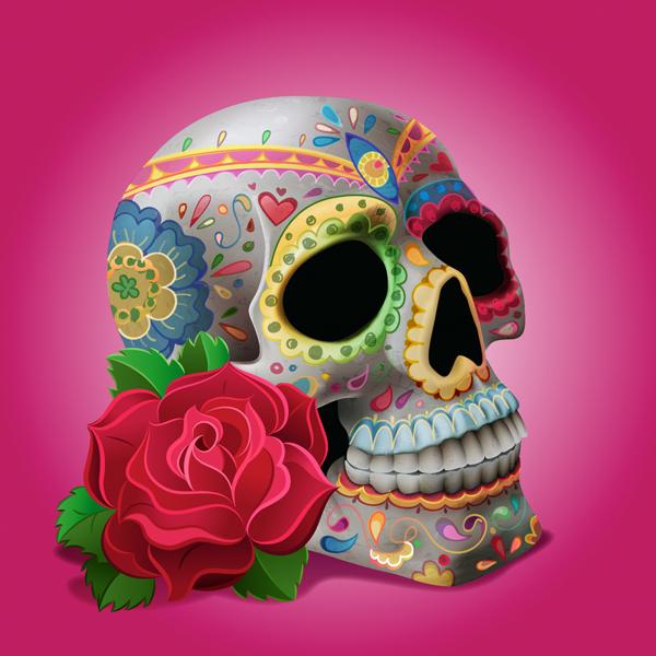 tutoriales de Adobe Illustrator para crear calavera decorativa para día de los muertos