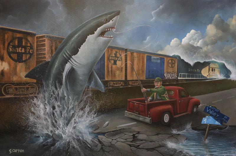 Graham Curran pescando tiburones