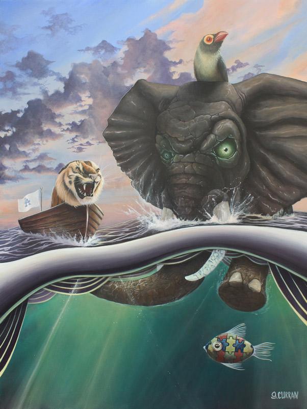 Graham Curran tigre elefante