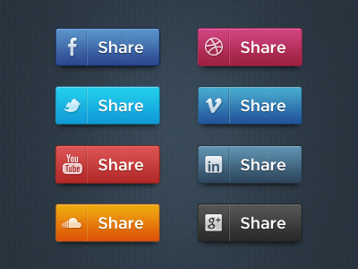 Set de botones PSD de Redes Sociales