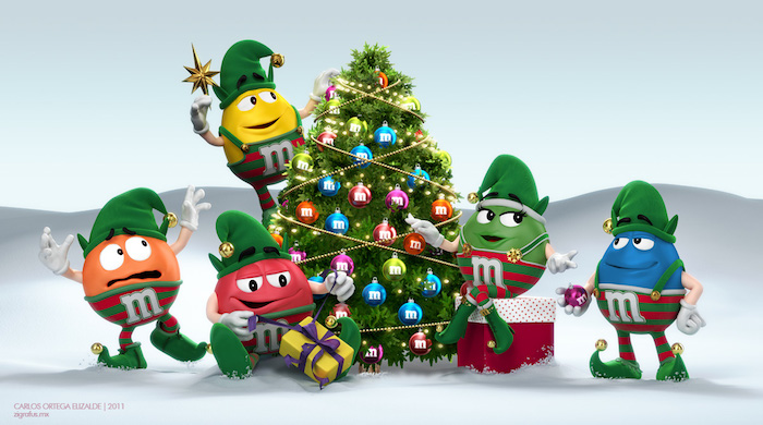 Escena navideña para M&M's