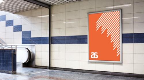 Mockups para publicidad, cartel de publicidad en espacios públicos (estación de metro)