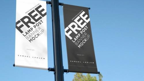 Mockup para publicidad exterior aplicada en postes