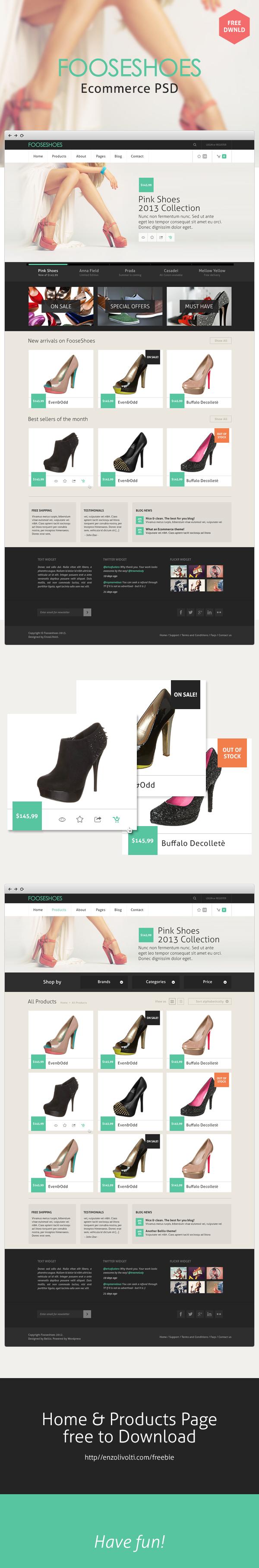 FooseShoes, plantilla PSD para tiendas en linea