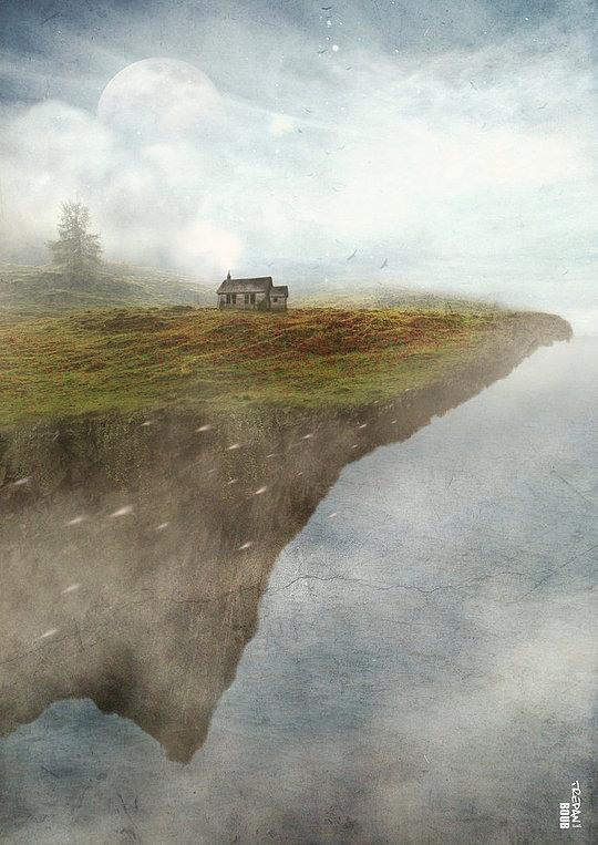 fotos manipuladas casa cerca del presipicio