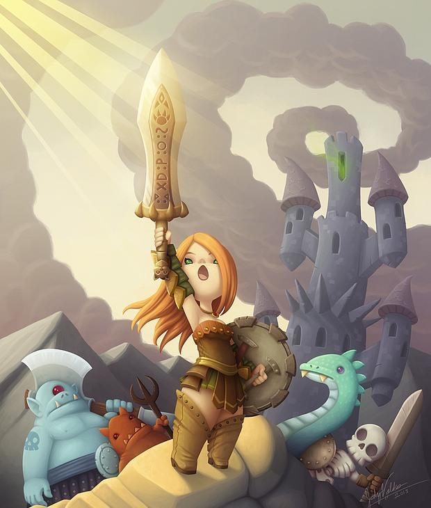 ilustraciones 2D guerrera con espada