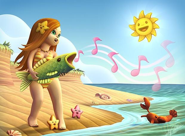 ilustraciones 2D niña pez cantando