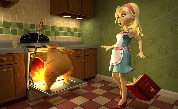 ilustraciones 2D pollo asesino