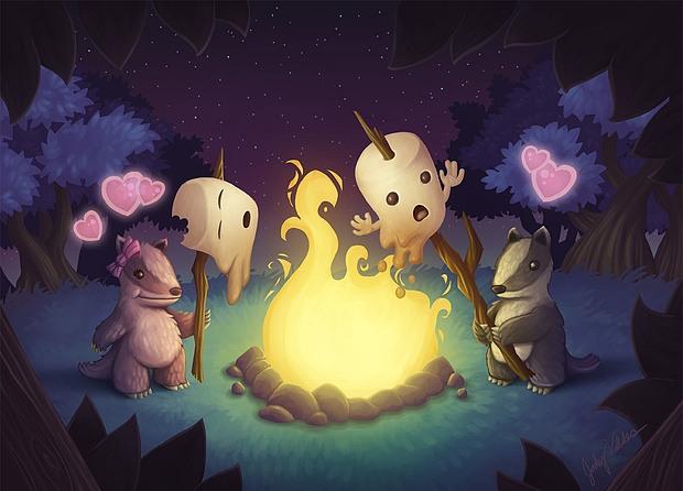 ilustraciones 2D sariguellas caza fantasmas