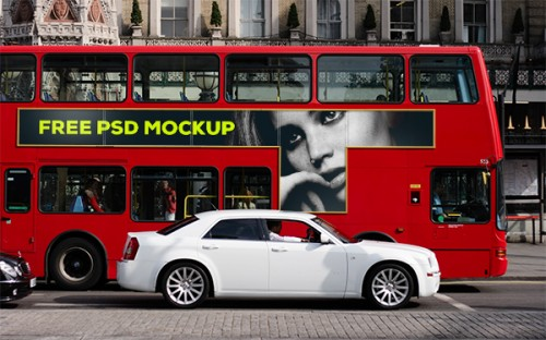 Mockup para publicidad en autobus de Londres