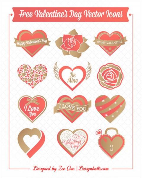 Iconos vectoriales para tarjetas de san valentin
