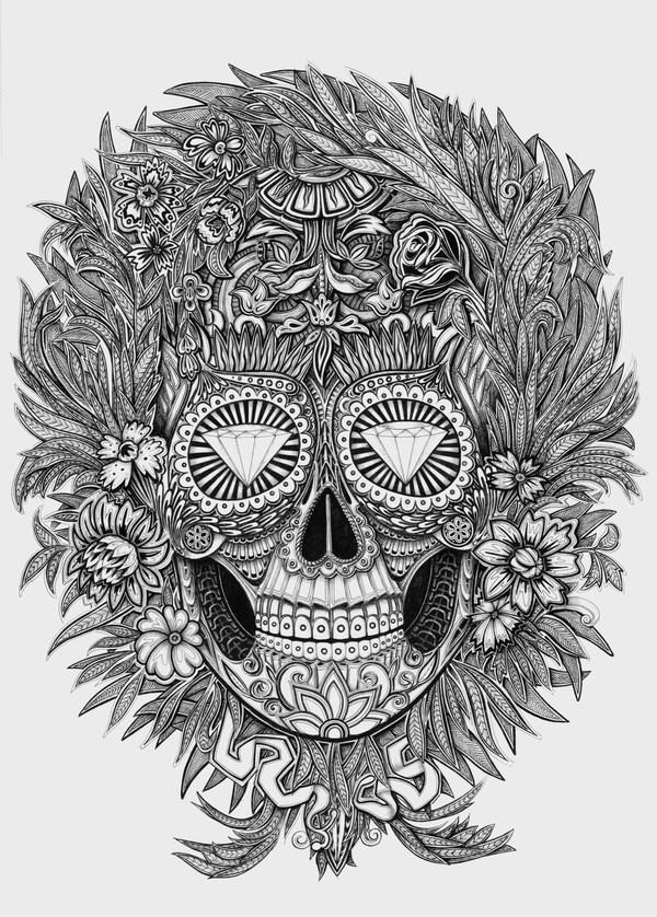 ilustraciones Alex Konahin calavera