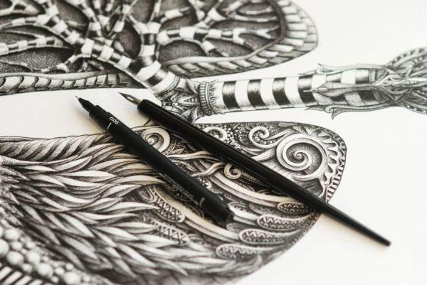 ilustraciones Alex Konahin estilografos
