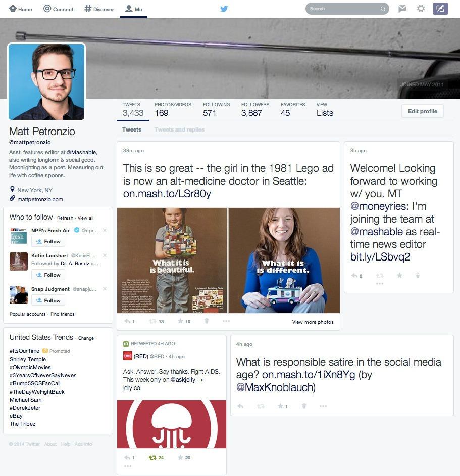 Vista general del nuevo diseño de Twitter que se esta probando