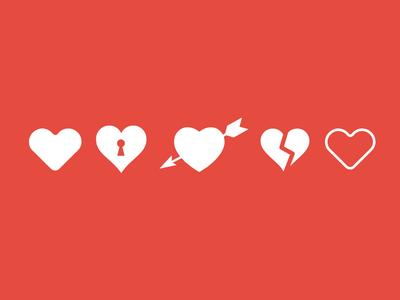 Iconos de corazones para Photoshop