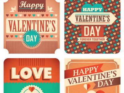 Plantillas de tarjetas retro para San Valentin