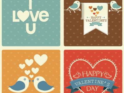 Paquete de vectores con elementos de amor estilo retro