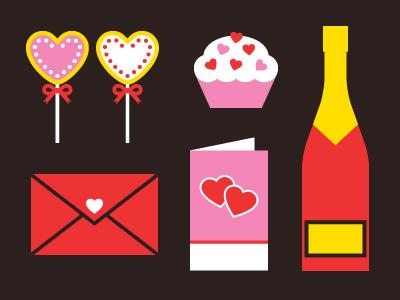 Paquete de vectores con elementos para San Valentin