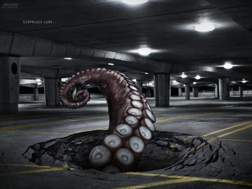 ejemplo retoque photoshop tentaculos en estacionamiento