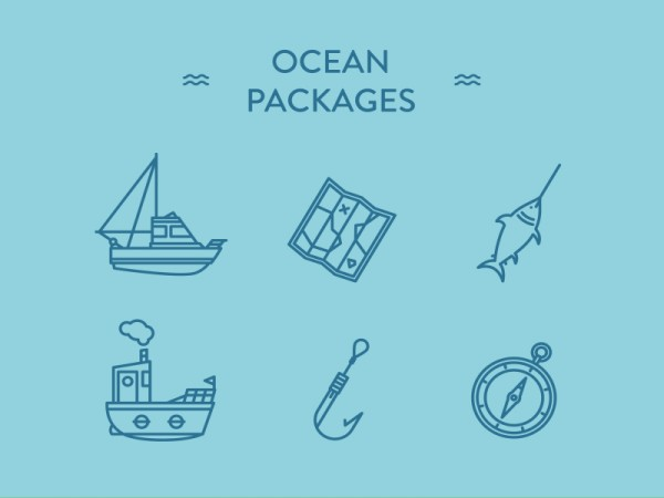 Iconos de marina, pesca y barcos