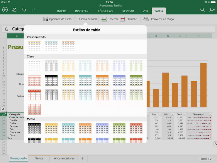 office para ipad excel