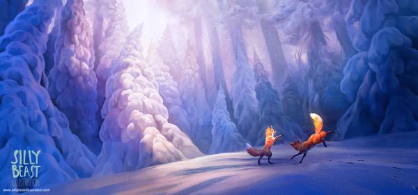 pinturas por Therese Larsson zorros