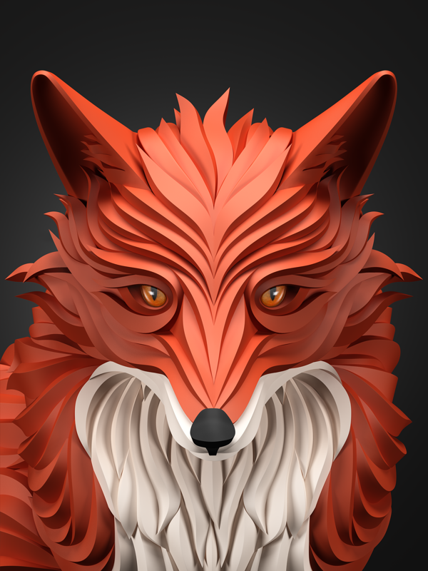diseños 3D animales zorro