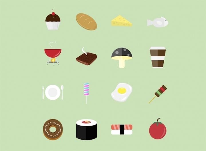 40 Iconos estilo flat de alimentos por Thomas Khogeen de Indonesia