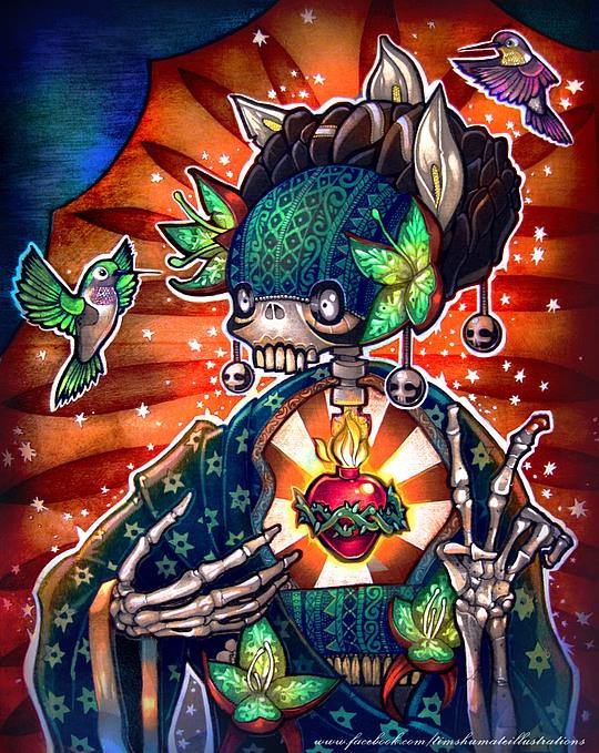 ilustraciones con tatuajes calavera