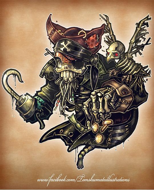 ilustraciones con tatuajes pirata