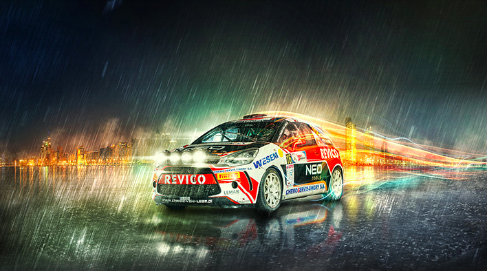 photoshop retouch rally car