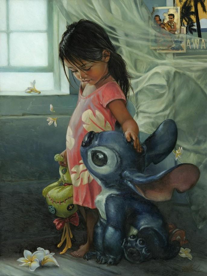 pintura realista de lilo and stich