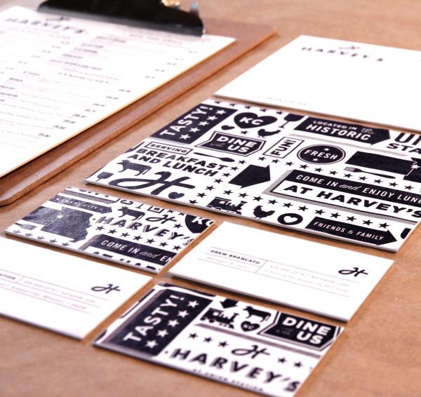 proyecto branding restaurant harveys papeleria