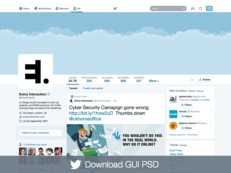 Plantilla PSD del nuevo diseño de perfil de Twitter