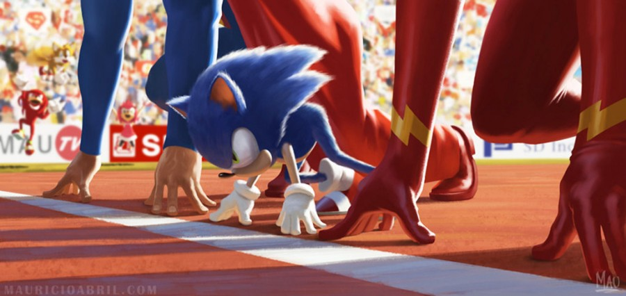 Mauricio Abril diseños sonic vs flash vs superman
