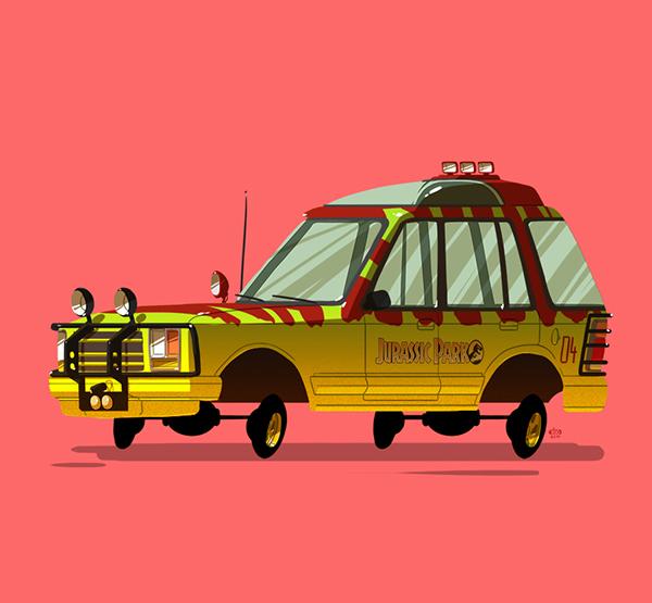 ilustraciones autos películas jurassic park