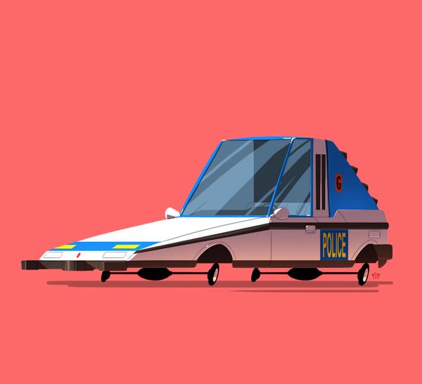 ilustraciones autos películas police