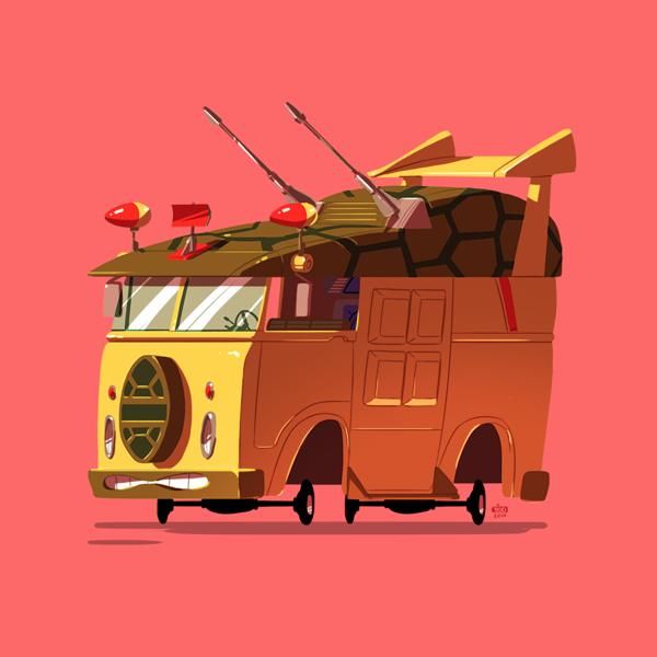 ilustraciones autos películas tortugas ninja