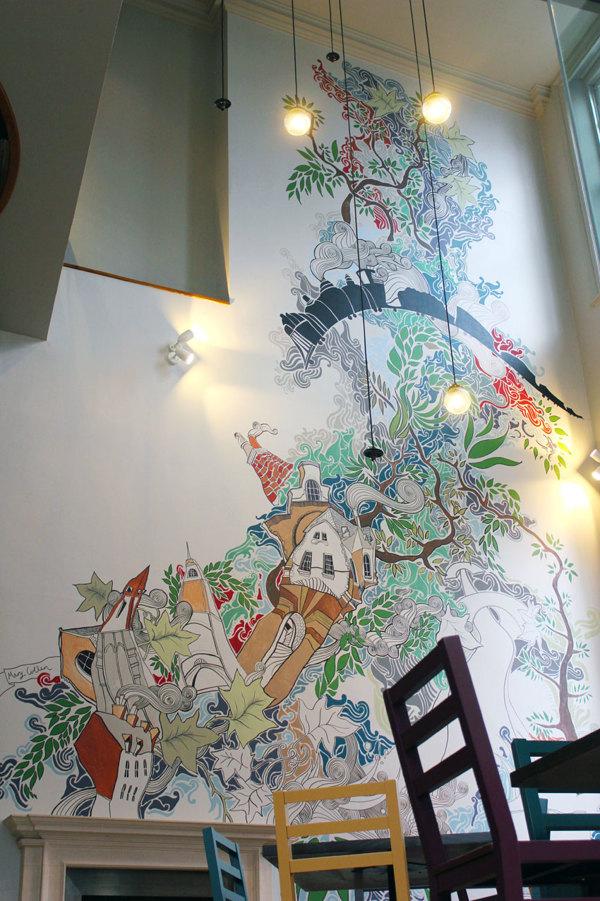 murales por Lizzie Cullen - Zizzi Italian Restaurant