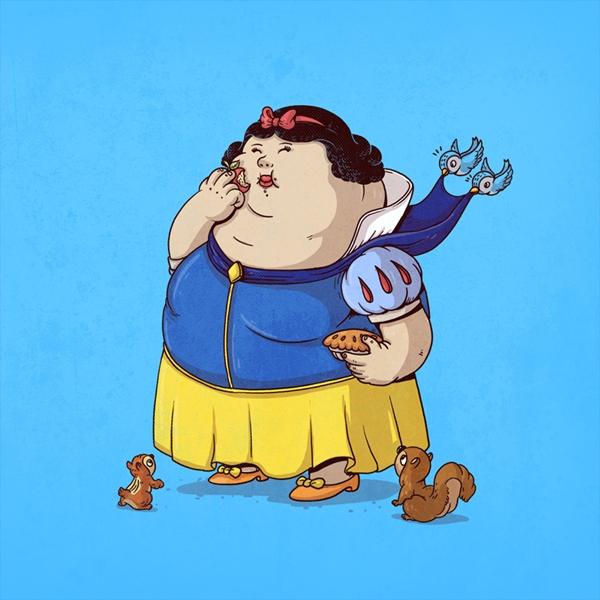 Ilustraciones de famosos personajes de la cultura Pop gordos