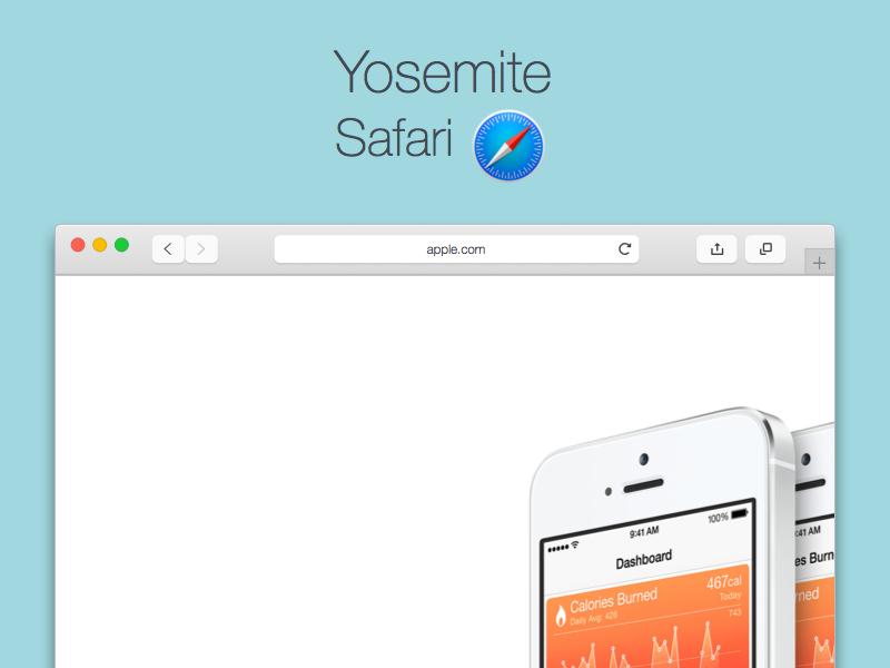 Yosemite mockup safari 1 Plantillas e iconos gratis del nuevo OS X Yosemite