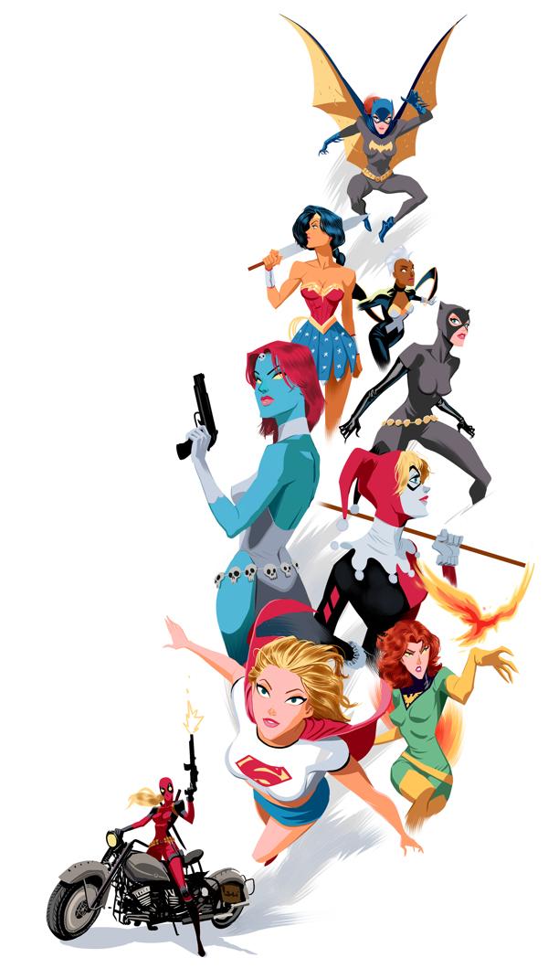 Ilustraciones de las mujeres de los Comics