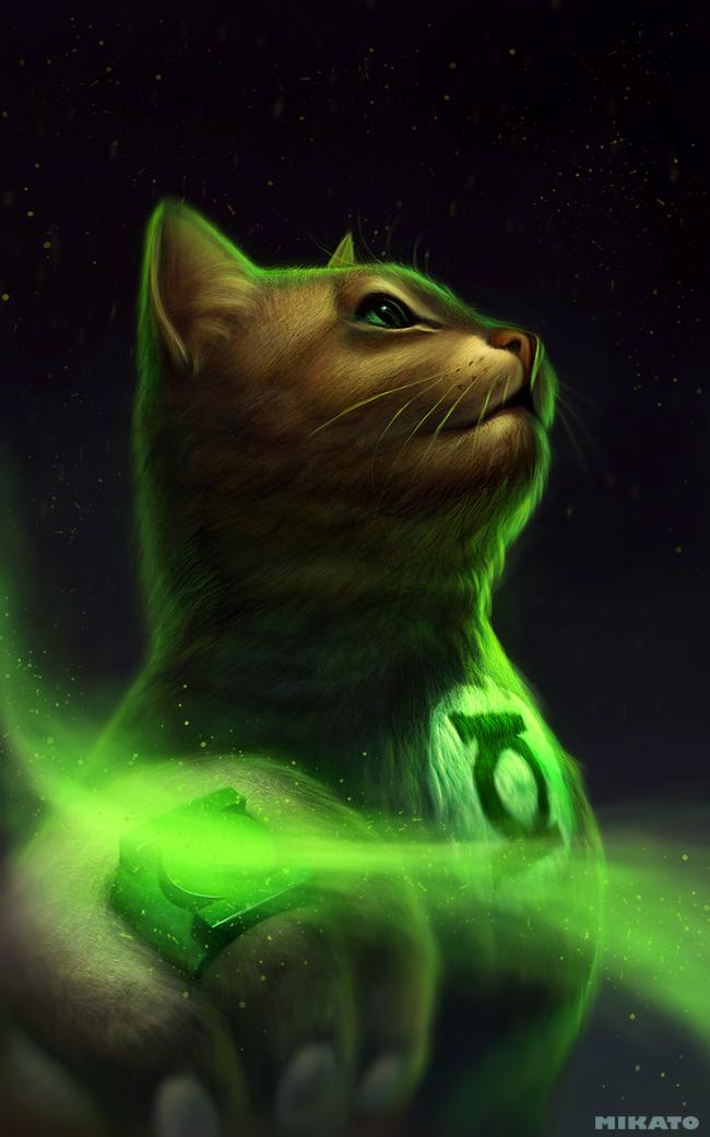 naionmikato gato linterna verde