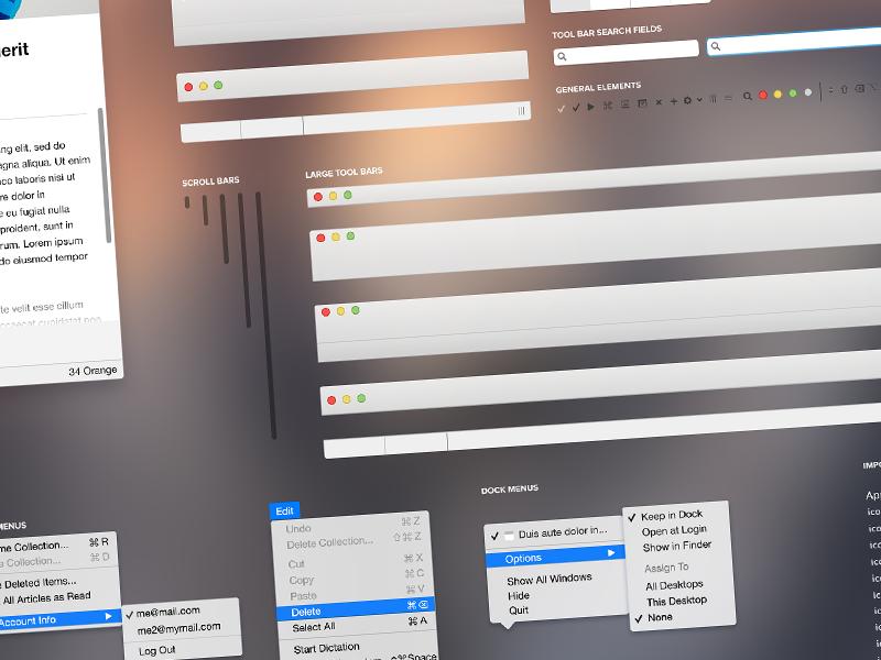 Plantilla PSD con elementos UI de OS X Yosemite por Cory Shoaf