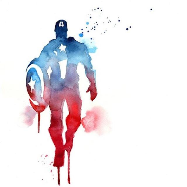 superhéroes con acuarelas capitan america