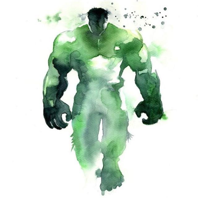 superhéroes con acuarelas hulk