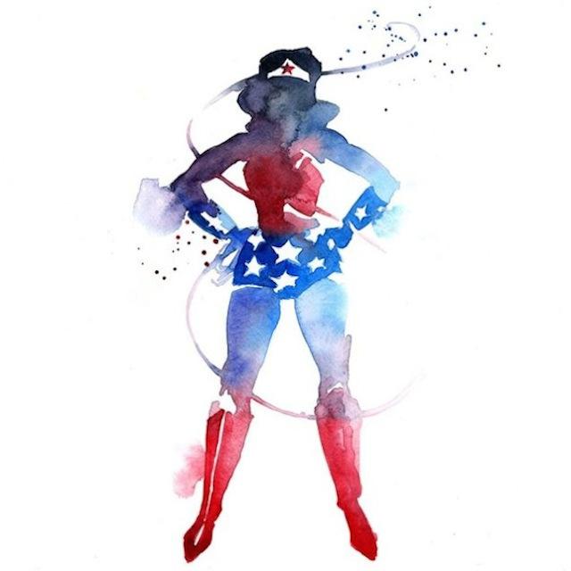 superhéroes con acuarelas mujer maravilla
