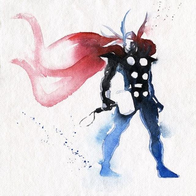 superhéroes con acuarelas thor